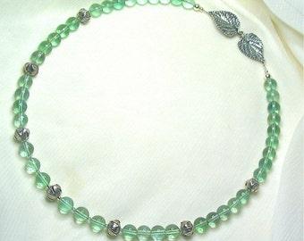 "Green Fluorite / Aventurine / Fine Silver / Sterling Silver Necklace - Natural Genuine Gemstone, Beaded, Boho, 19"""