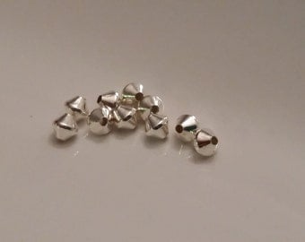 10 Pieces 925 Sterling Silver 3mm Smooth Bicone Beads MADE IN USA