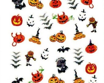 halloween collection 4 stickers nail decals