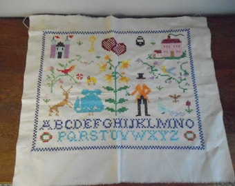Vintage Alphabet Sampler Colorful Country Homestead Scene Ready to Frame Needlework Art Charming Wall Hanging