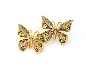 Vintage Damascene Butterfly Pin Brooch Gold Black & Silver Enamel Spain Spanish Toledo Jewelry