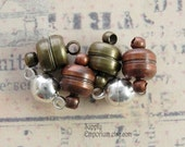 Assorted Magnetic Ball Clasps - 11mm Magnetic Ball Clasp - 6 sets - Assortment of Silver, Antique Copper and Antique Brass Magnet Clasps