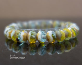 8x6mm Mix Green Rondelle - 1370 - Czech Glass Fire Polished - Picasso Faceted Rondelle - 25 beads