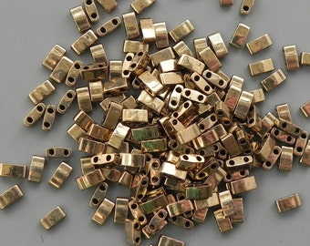 Miyuki Half Tila Two Hole Beads - 8 grams - Dark Bronze Half Cut Tila Bead - 2115- Color number 457 - 1/2 Tila