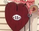 Heart Valentine Cupboard Hanger Room Door Number with Key Hand Crafted and Painted Vintage Look