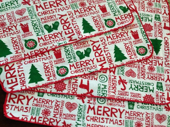 Sale! Christmas Placemats Red and Green Cotton Kids Table Placemats Set of 6 by Smartkin