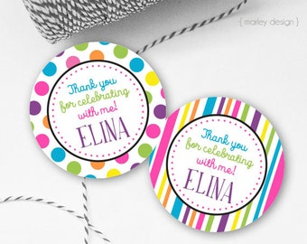 Birthday Tags Printable Birthday Favor Tags Birthday Favors First Birthday Bright Dots Polka Dot Tags Thank You Tags Birthday Favor Tags