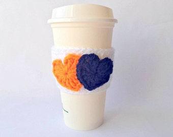 Denver Broncos Crochet Coffee Cozy, Denver Broncos Coffee Sleeve, Crochet Coffee Cozy, Coffee Cozy, Coffee Sleeve, Valentine Coffee Cozy