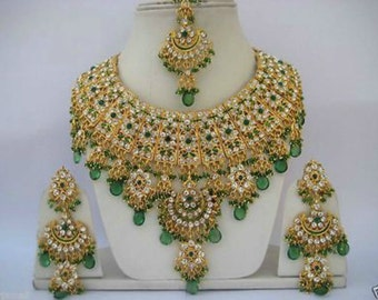 Indian Jewellery Set Handmade Gold Plated Alloy and Rhinestones Green Clear Stones - AQ-04