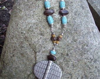 Chunky Antique Silver Pendant Necklace with Turquoise Brown Howlite Brown Oval Wooden Beads Indonesia Mustard Beas and Silver Caps adn Beads