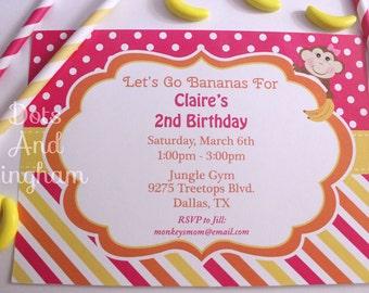 Monkey Invite-Monkey Invitation-Monkey Banana Invitation-Printable Monkey Invite-Monkey Birthday Invite-Monkeying Around-Monkey Banana Party