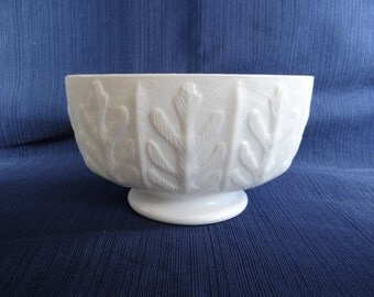 FTD Milk Glass Oval Footed Planter in an Oak Leaf Pattern - White Milk Glass Oval Vase Planter - 1970s