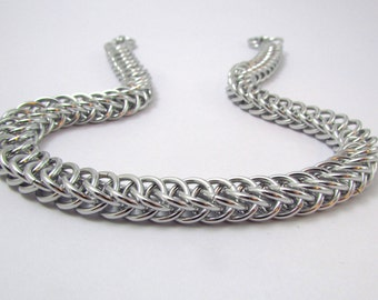 Silver Chainmaille Necklace – Half Persian Chainmaille - Nickel Free Chain Necklace - Handmade Chainmail