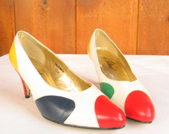 Vintage 1980's FRANCESCA Color Block Leather White Navy Yellow Red Pumps size 6.5 M by A J Valenci in excellent vintage condition.