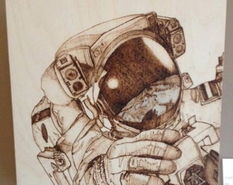 Spaceman Pyrography and Coloured Pencil on on Birch Wood Panel