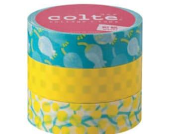 Colte Washi Masking Tape /Yellow Lily /  3 rolls set / CT006