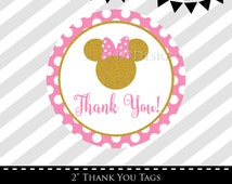 Minnie Mouse Favor Tags, Pink and Gold, Glitter, Instant Download