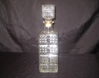 Alcohol decanter, liquor decanter, whiskey bar decantur, clear glass, 50s 60s, mid century, federal law forbids sale or reuse of this bottle