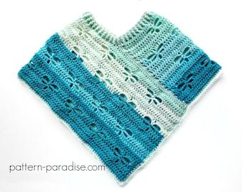Crochet Pattern for Poncho Shawl, Dragonfly, PDF 16-252