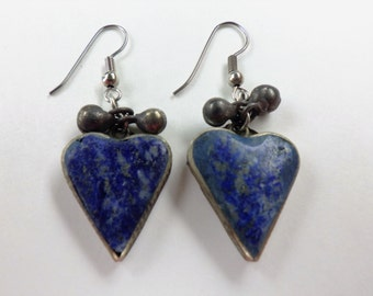 Vintage Heart Lapis Stone Earrings