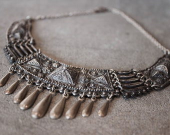 Antique / Vintage Heavy Mexico Silver Fringe Bib Necklace / Choker