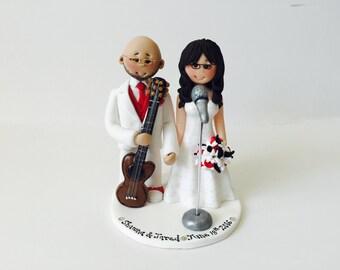 Customized Bride & Groom Guitar Player Groom and  singing Bride Wedding Cake Topper - Music themed DJ wedding cake topper