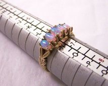 Vintage 9ct Gold Opal Ring,9ct Ring, Cocktail Ring, Engagement Ring, Synthetic Opal, 5 Opals Ring, Size 6 1/4, Size M 1/2