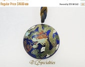 SALE 30 Cloisonne Two Sided Pendant Necklace
