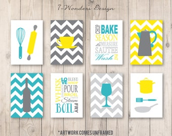 Kitchen Art Prints, Utensils, Appliances, Subway, Coffee, Wine Set of (8) 4x6 OR 5x7, Yellow Gray Turquoise, Modern Kitchen Decor - Unframed