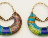 Vintage Early Laurel Burch 1970s Cloisonné Enamel Puffy Figural Love Birds Pierced Earrings Sterling Silver 24k Gold Wash