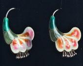 Vintage Early Laurel Burch 1970s Cloisonné Enamel Puffy Flower Hoop Pierced Earrings Sterling Silver 24k Gold Wash