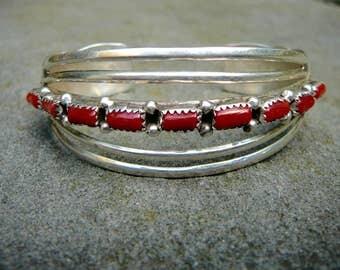 Native American Coral Bracelet, Vintage Cuff Bracelet, Red Coral Bracelet, Coral Bracelet, Coral Jewelry, Native American Jewelry, Cuff