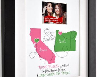 Best friend gift, going away gift for friend, long distance friendship, quote, birthday gift best, childhood friend, two maps, photo gift