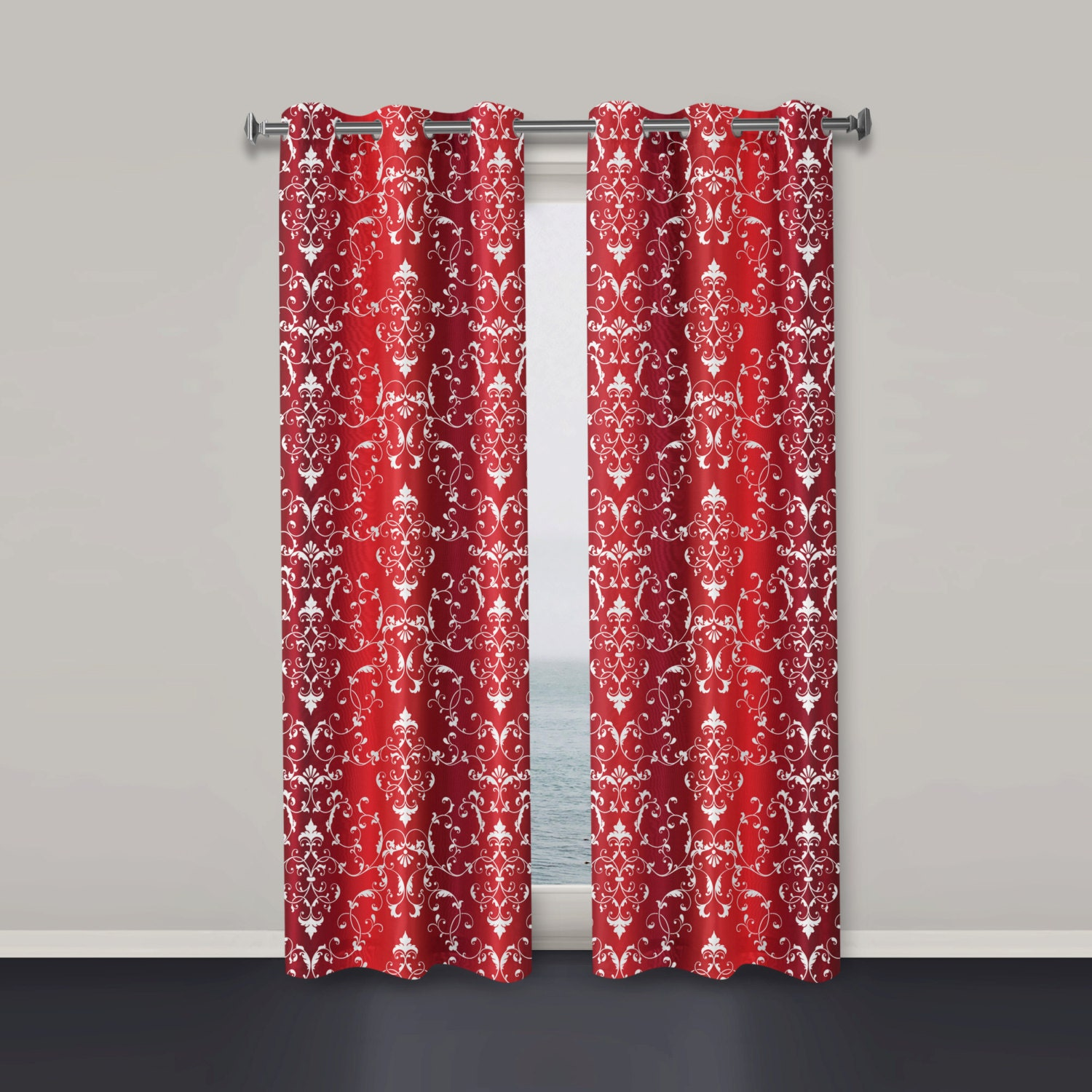 Red Window Curtain Panels Sale: Window Curtains Red Window Curtain Modern Window Curtain