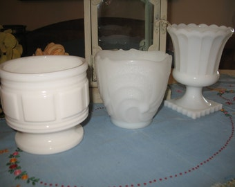 3 Milk Glass vases