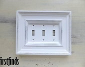 Triple Light Switch Plate Electrical Traditional Framed Shabby Chic White Cottage Painted Cover Vintage Decor Lite Toggle DETAILS BELOW
