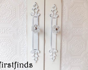 2 Shabby Chic Pulls White Back Plates Knobs Tall Decorative Door Vintage  Kitchen Cabinet Hardware Cupboard