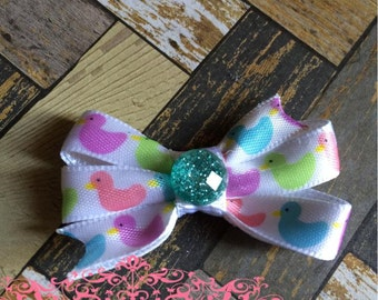 Small Spring Purple, Green, Pink, Blue Duckling Hair Bow
