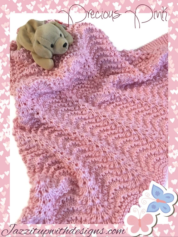 Pink Baby Receiving Blanket Soft Pink Lace New Baby Girl HandKnit Caron Simply Soft Yarn