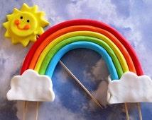 Fondant rainbow sun cake topper, edible rainbow, fondant cloud, happy sun, 3D fondant cake topper, rainbow cake topper, fondant sun