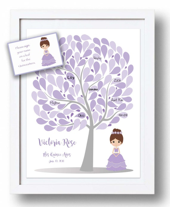 Quincea 241 Era Guest Book 16x20 Sign In Tree Sweet 16 Guestbook