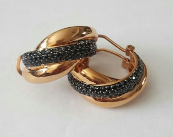 Vintage Sterling Silver 14k Rose Gold Plated Black Spinel Pave Woven Hoop Earrings
