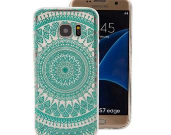 Samsung Galaxy S7 Edge Case, Mandala Tribe Clear TPU Bumper Crystal Series (One Piece) Hybrid Unique Designed Teal Green Flower Mandala