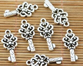 40pcs tibetan silver plated floral key charm pendantts EF1944