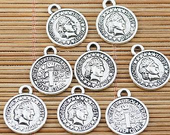 28pcs Tibetan silver one dime of America charms EF1653