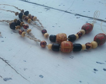 Beautiful Brown and Red Hemp Barefoot Sandals with Wooden Beads