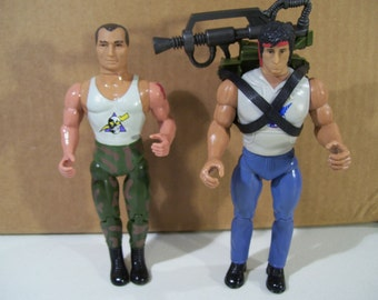 Lot of 2 Vintage John Rambo & Sgt Havoc Action Figures, Anabasis, 1985 1986