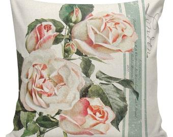 Spring Pillows, Botanical Pillows, Roses, Floral, Spring Decor, Cushion Covers, Throw Pillows, Made in USA, Cotton, Burlap,   #EHD0138