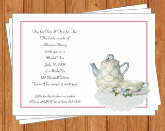 Tea Party Invitation | Bridal Shower | Printable Editable Digital PDF File | Instant Download | TPI213 DIY