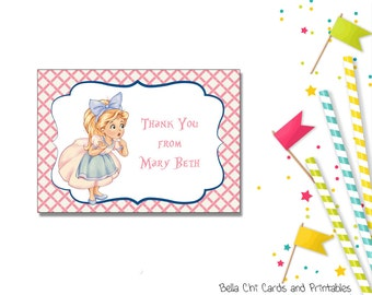 Shabby Chic Alice Tea Thank You Cards-KBI101TY Printable PDF Instant Download